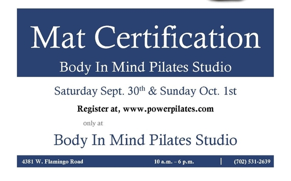 Upcoming Pilates Mat Certification by Body In Mind Pilates Studio ...