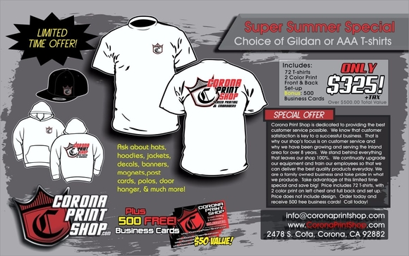 Super summer sale by corona print shop in corona ca alignable take advantage of this limited time offer and save big this summer 72 white t shirts with 3 color print front and back price includes t shirts printing reheart Choice Image