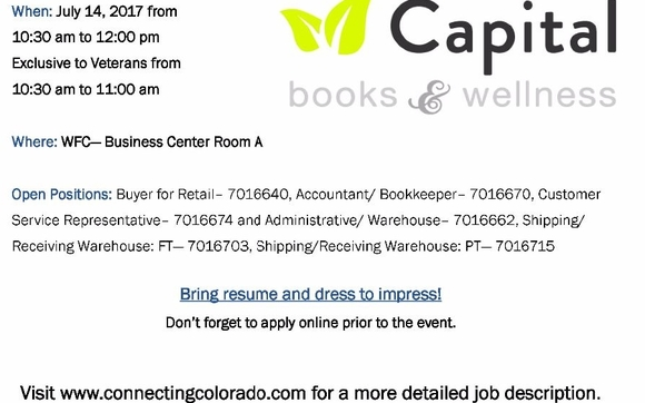Capital Books  Wellness Hiring Event Multiple Positions By Mesa