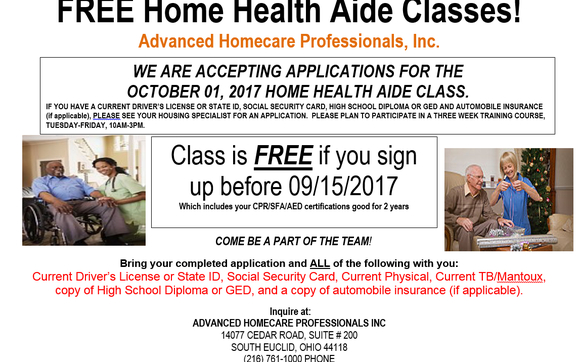free home health aide classes by advanced homecare professionals inc ...