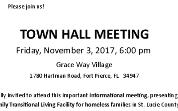Town Hall Meeting by Grace Way Village in Fort Pierce FL Alignable