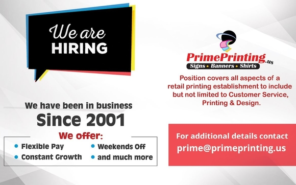 we are hiring by prime printing signs in hales corners area