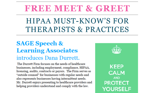 Free meet greet hipaa must knows for therapists practices by 3 steps to being completely compliant individual therapists smallmedium practices speech ot pt psychology and more m4hsunfo
