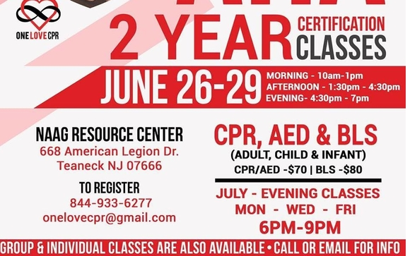 CPR AED AND BLS CERTIFICATION COURSE by ONE LOVE CPR in Teaneck, NJ ...