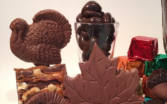 1477667373 leaves turkey favor bark chocolates close up fall 2015