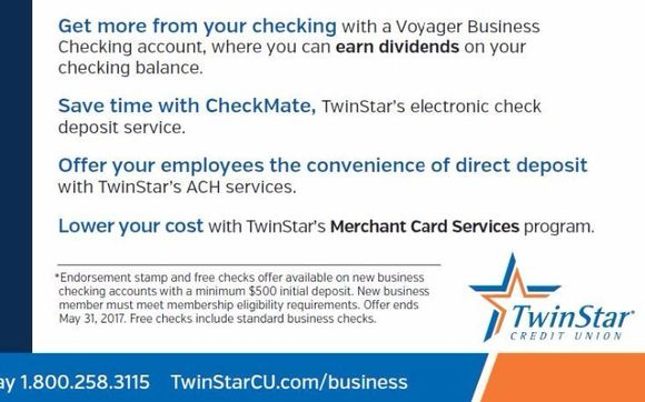 Business checking promotion by jose galvan twinstar credit union free endorsement stamp and first box of checks when you open a twinstar business checking account ask me how reheart Images