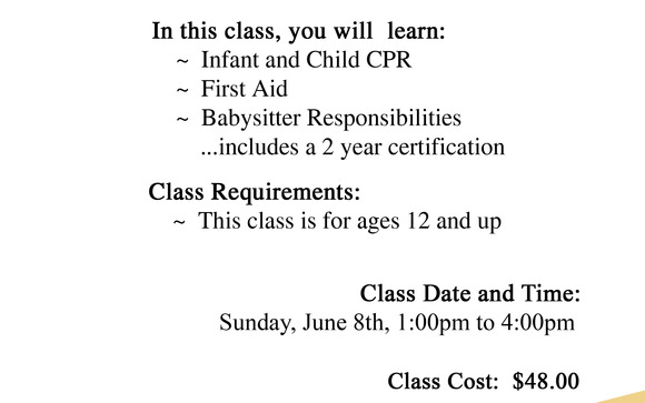 Babysitting Certification Class by Trinity Meeting Center in Trinity ...