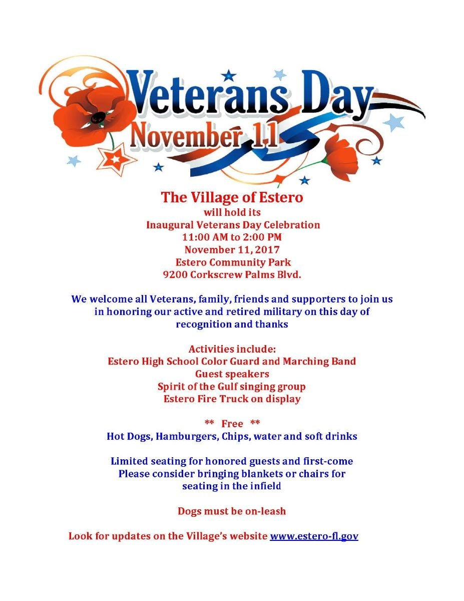 Estero 1st Annual Veterans Day Celebration By Igoe Realty Pa In