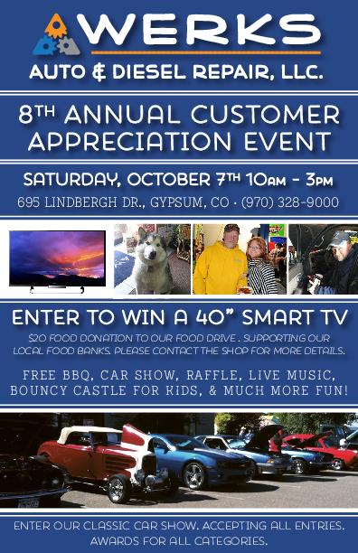Customer Appreciation Day By Werks Auto Diesel Repair In Gypsum - Fun car show award categories