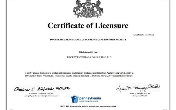 Home Health Care License (Business) by Liberty Licensing ...