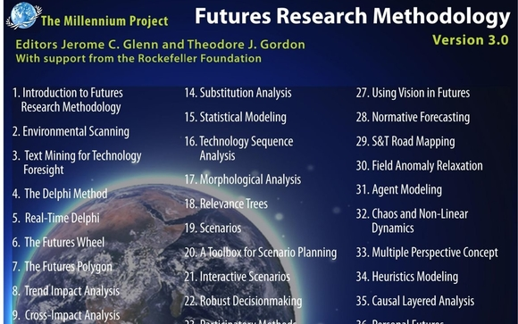 futures research methodology Futures techniques futures techniques used in the multi-disciplinary field of futures studies by futurists in americas and australasia, and futurology by futurologists in eu, include a diverse range of forecasting methods, including anticipatory thinking, backcasting, simulation, and visioning.