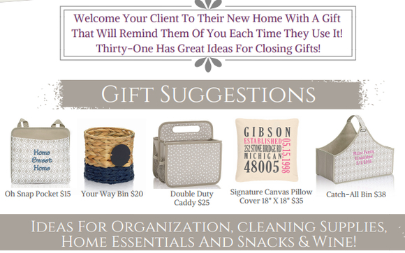Closing Gifts for Realtors by Thirty-One Gifts Independent Director ...