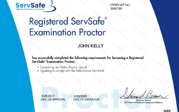 ServSafe Food Handler Manager Online Exam Proctor by JD Kelly ...