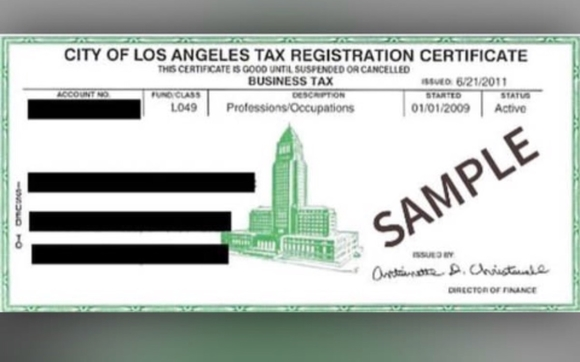 Business Tax Registration Certificate by Go File, Inc in Whittier ...