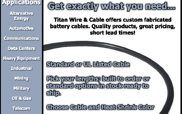 Battery Cables by Titan Wire & Cable LLC in Sparks, NV - Alignable