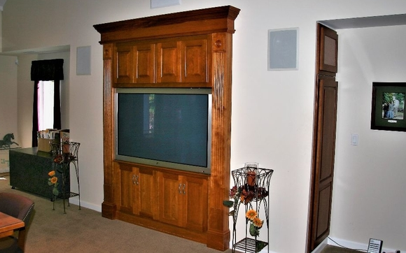 Here We Have A Cherry Av Cabinet We Built With Storage For Miscellaneous  Items In The Upper Section And Av Equipment Behind The Lower Doors.