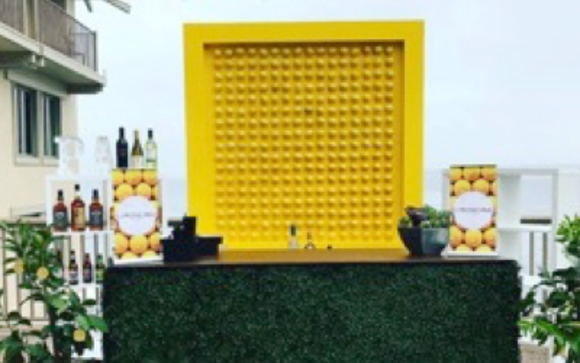 We Fabricated This Lemon Wall For A Product Release And Complimented It  With Our Hedge Bar.